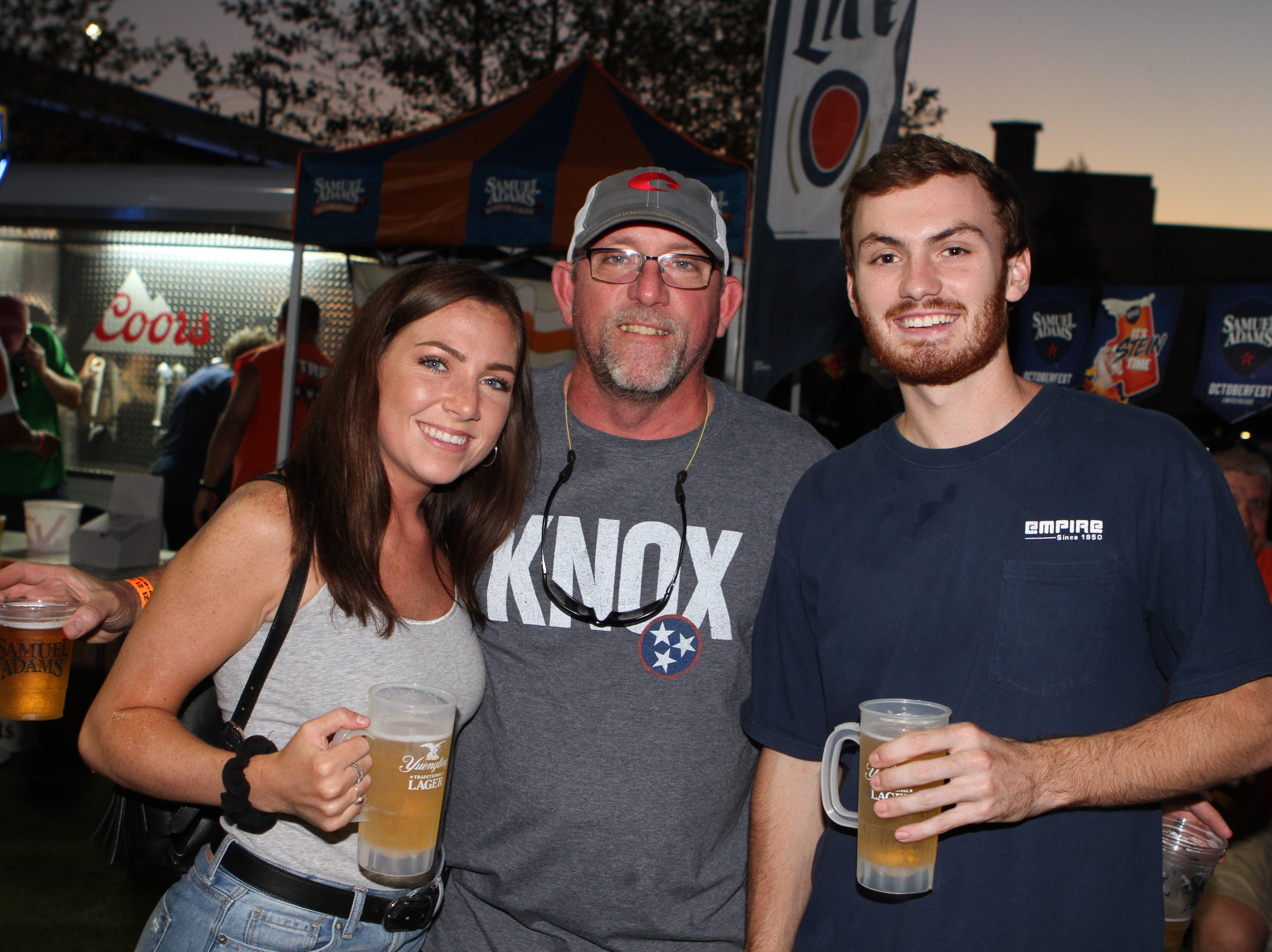Emily Burch, Steve Burch and Zach Scott at Downtown Commons on Saturday, Oct. 6, 2018, for the inaugural Bikers Who Care Oktoberfest.