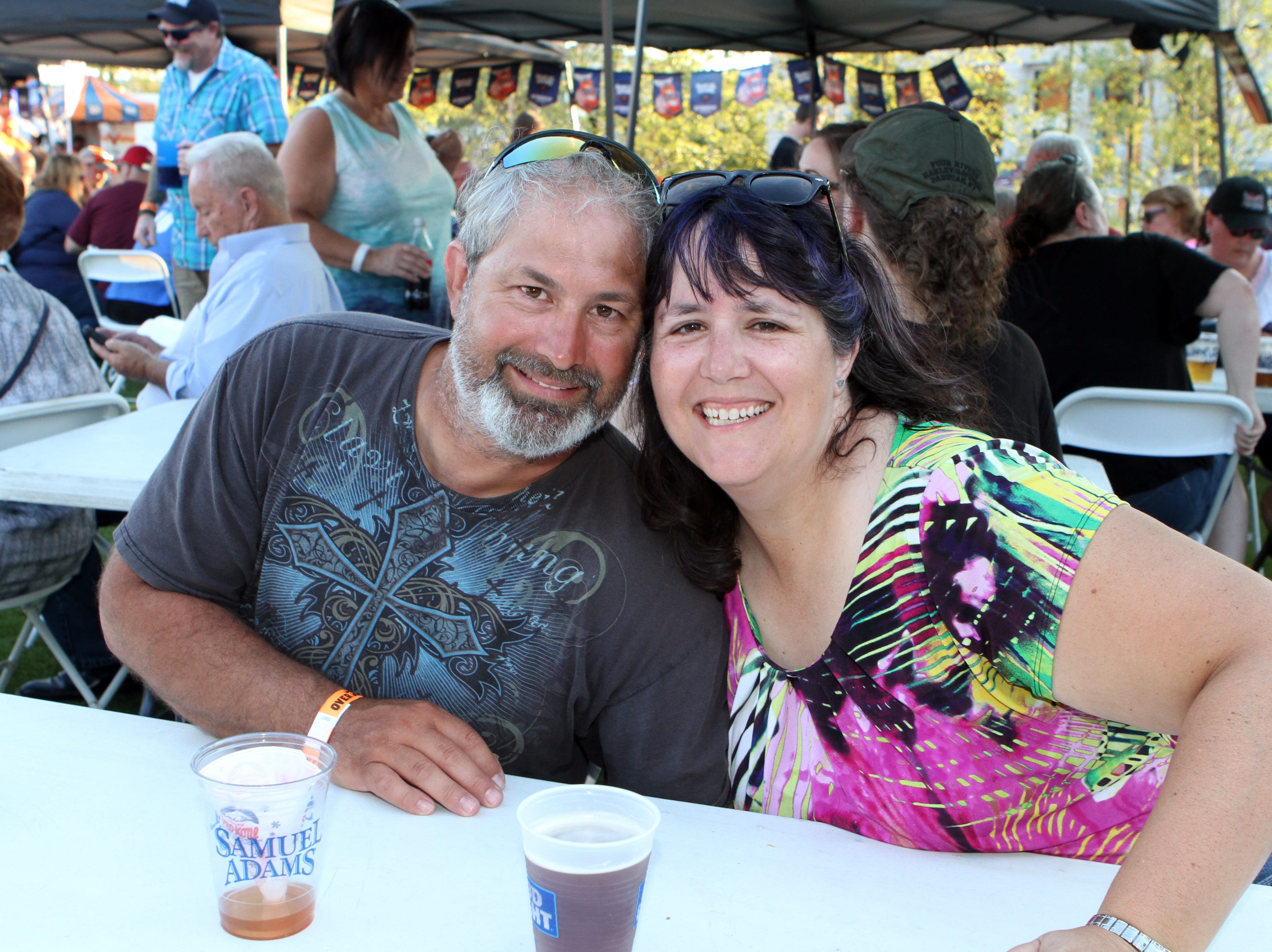 Travis and Christina Taylor at Downtown Commons on Saturday, Oct. 6, 2018, for the inaugural Bikers Who Care Oktoberfest.