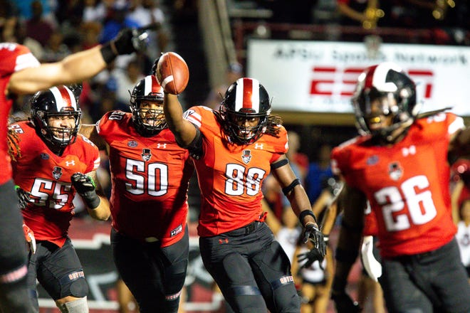 Austin Peay Governors defensive lineman Nate Howard (88) celebrates after recovering a fumble during a game on Oct. 6. The Govs are coming off a bye week and face Tennessee Tech at home Saturday.