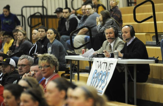 WTNS Radio?s Tom Thompson, left, and his color commentator Steve Cores call a River View girls basketball game at Tri-Valley in this 2014 Tribune file photo. Thompson died of cancer at his home on Oct. 6.