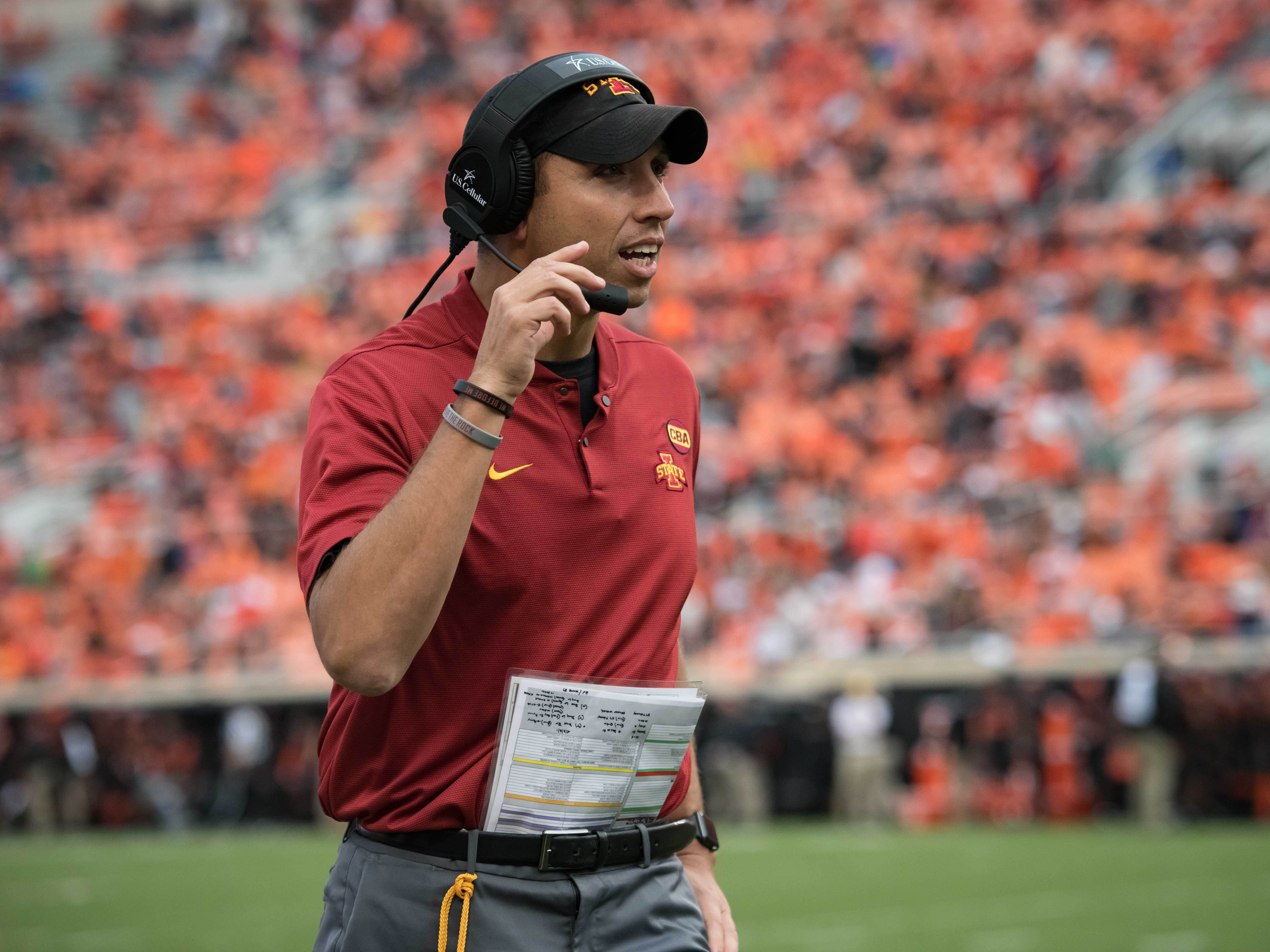 Oct 6, 2018; Stillwater, OK, USA; Iowa State Cyclones head coach Matt Campbell reacts during the second half in the game against the Oklahoma State Cowboys at Boone Pickens Stadium.