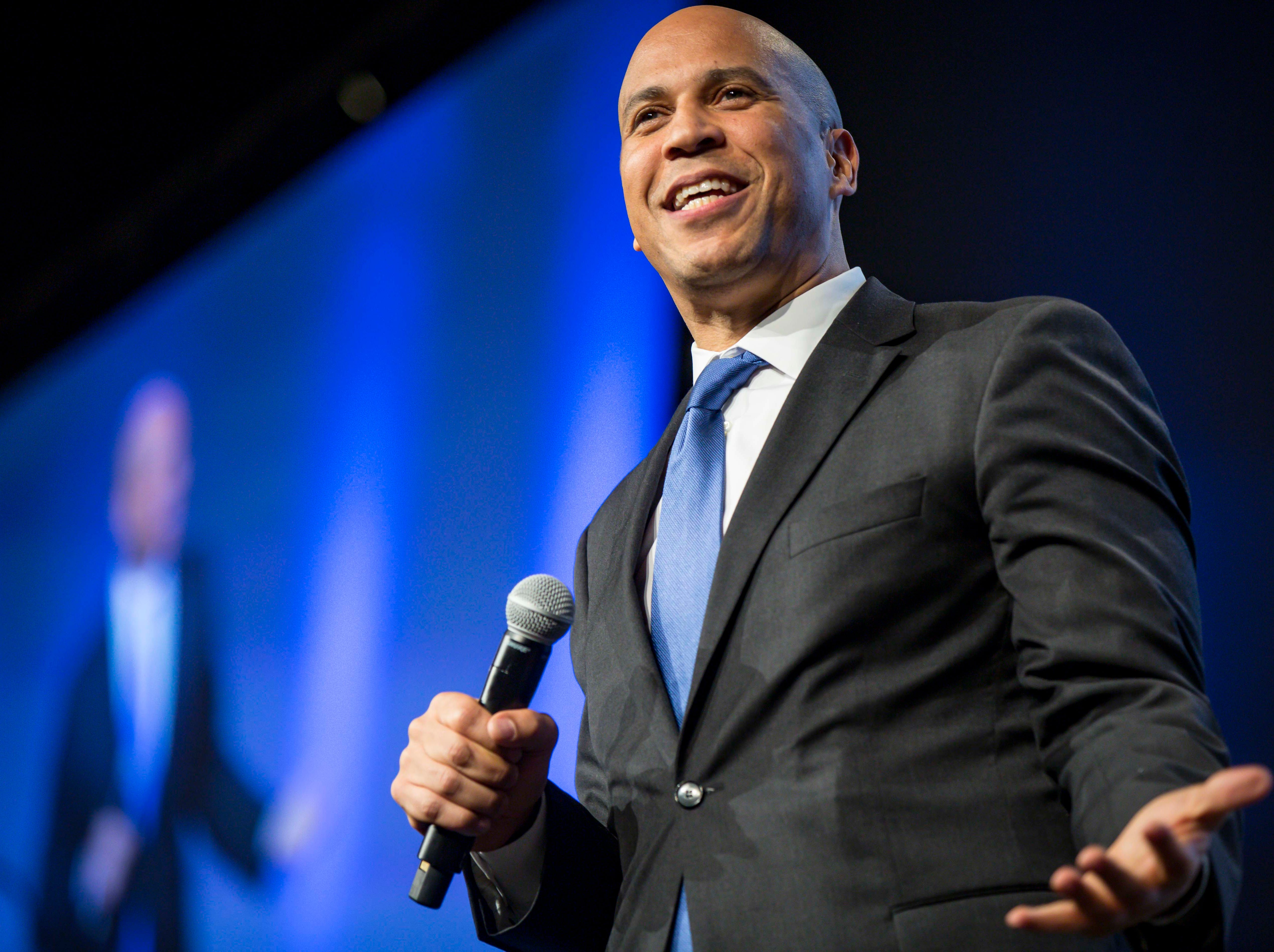 New Jersey Sen. Cory Booker speaks at the Iowa Democratic Party's fall gala Saturday, Oct. 6, 2018, at the Iowa Events Center in Des Moines.