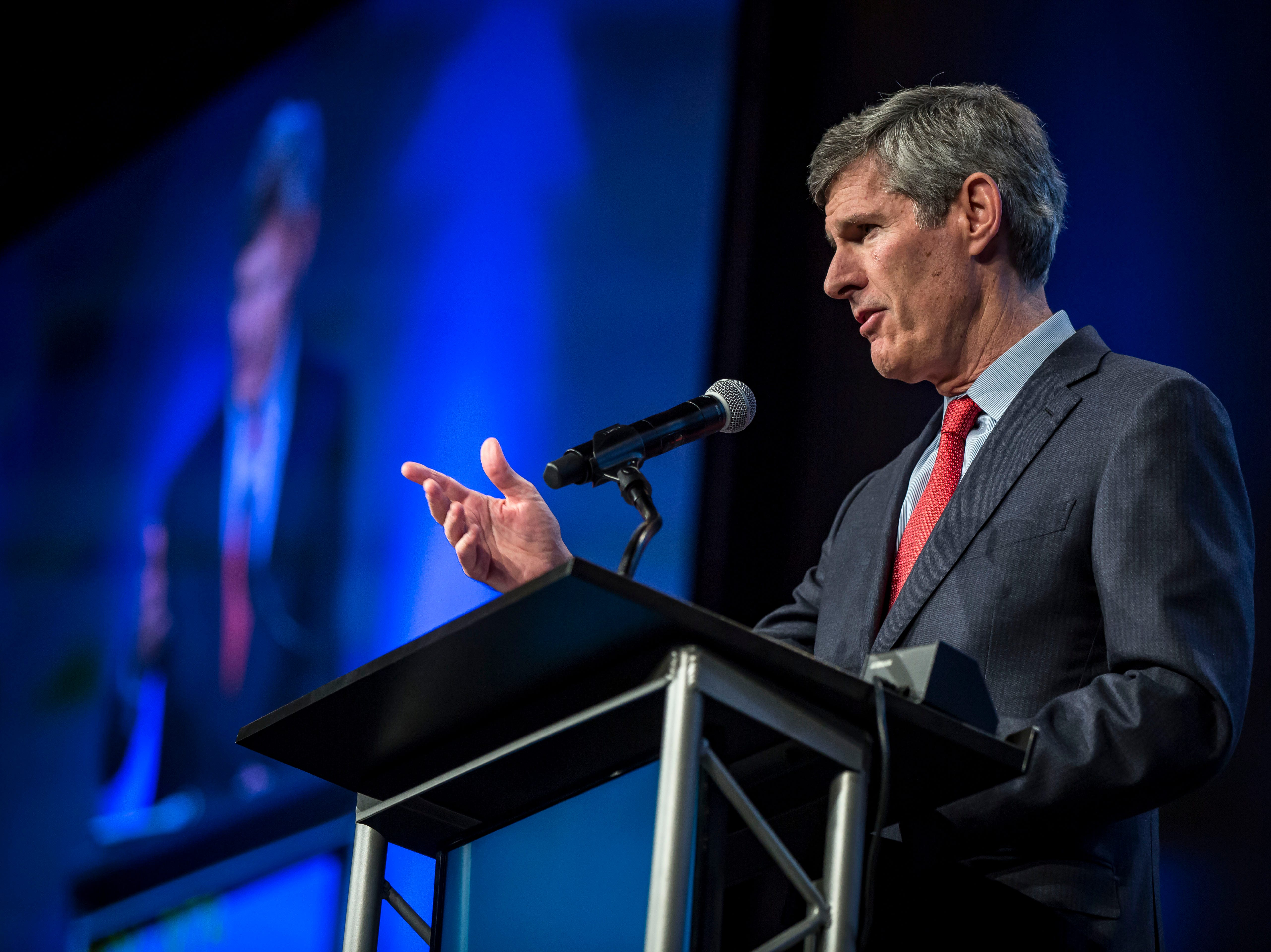 Fred hubbell speaks at the Iowa Democratic Party's fall gala Saturday, Oct. 6, 2018, at the Iowa Events Center in Des Moines.