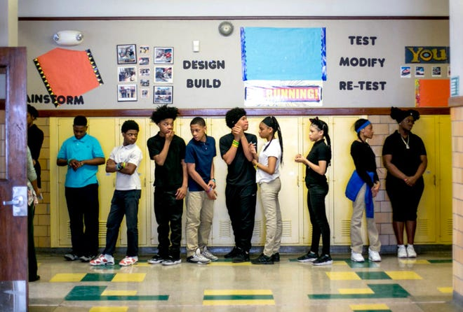 Students line up at Mary McLeod Bethune Elementary-Middle School in Detroit on May 1, 2018.