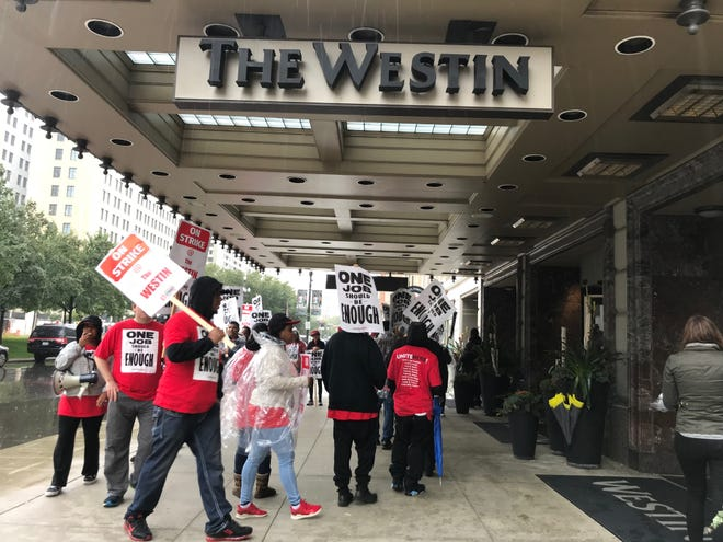 Westin Book Cadillac hotel workers represented by UNITE HERE Local 24 began a strike on Sunday, Oct. 7 demanding that the Marriott-operated hotel agree to negotiations for fair wages, better insurance plans and more.