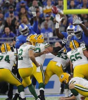 Detroit Lions defense tries to block a field goal by Green Bay Packers kicker Mason Crosby, who misses during the first half against the Green Bay Packers, Sunday, Oct. 7, 2018 at Ford Field.