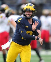 Shea Patterson warms up before action against Maryland last week.
