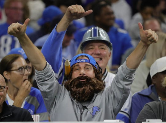 A Detroit Lions fan dressed like head coach Matt Patricia on Sunday at Ford Field.