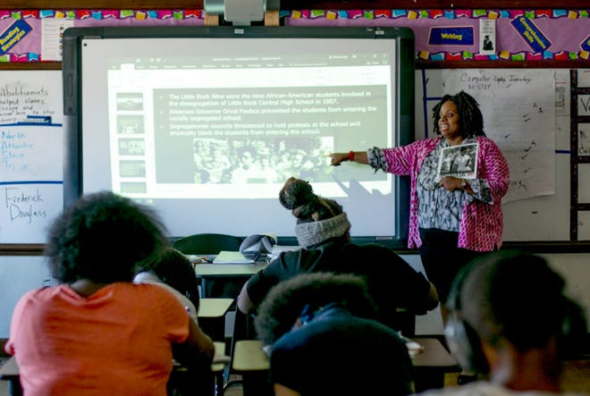 Students attend class at Mary McLeod Bethune Elementary-Middle School in Detroit on May 1, 2018.