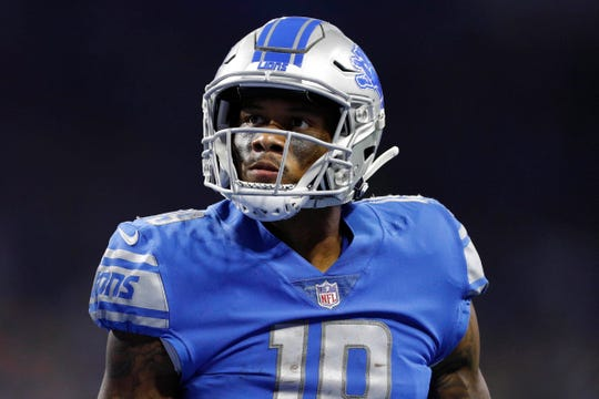 Lions wide receiver Kenny Golladay reacts after making a play during the first half on Sunday, Oct. 7, 2018, at Ford Field.