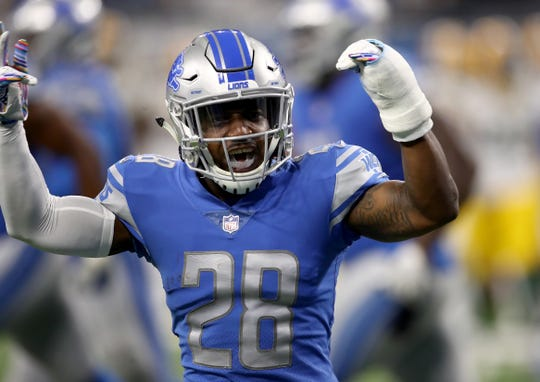 Lions safety Quandre Diggs celebrates  a defensive play against the Packers during the first half on Sunday, Oct. 7, 2018, at Ford Field.