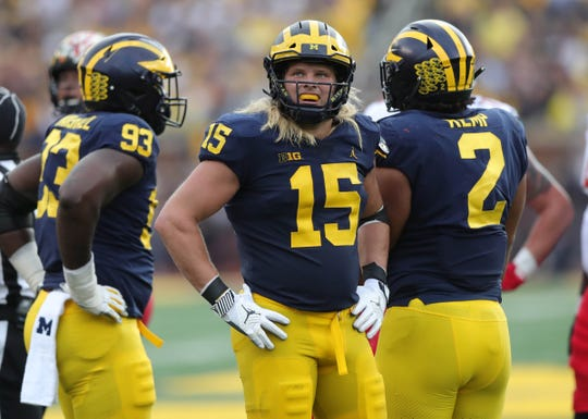 Michigan's Chase Winovich lines up against Maryland during the second half Saturday, Oct. 6, 2018 at Michigan Stadium.