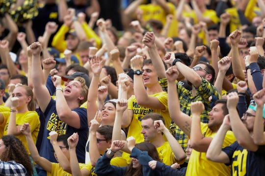 Michigan fans cheer during action against Maryland, Saturday, Oct. 6, 2018 at Michigan Stadium.