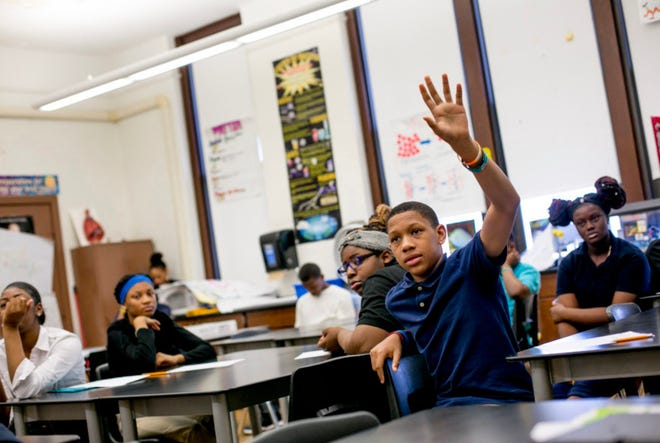 Jamarie Samuel attends class at Mary McLeod Bethune Elementary-Middle School in Detroit on May 1, 2018.