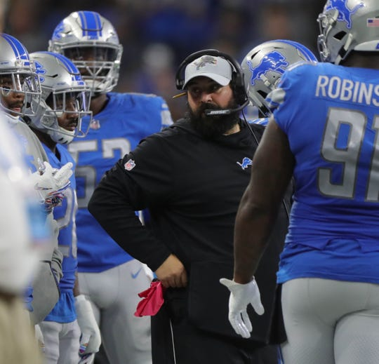Detroit Lions head coach Matt Patricia on the sideline during the first half against the Green Bay Packers, Sunday, Oct. 7, 2018 at Ford Field.