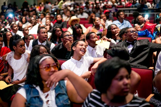 Mary McLeod Bethune Elementary-Middle School's eighth-grade graduation took place at the neighborhood high school, Mumford High. About half of the students in homeroom 8B said they planned to attend Mumford High for ninth grade. Others chose charters or suburban schools.