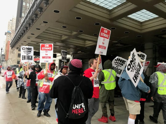 Westin Book Cadillac hotel workers walked off their jobs and began a strike on Sunday, Oct. 7 demanding that the Marriott-operated hotel agree to negotiations for fair wages, better insurance plans and more.