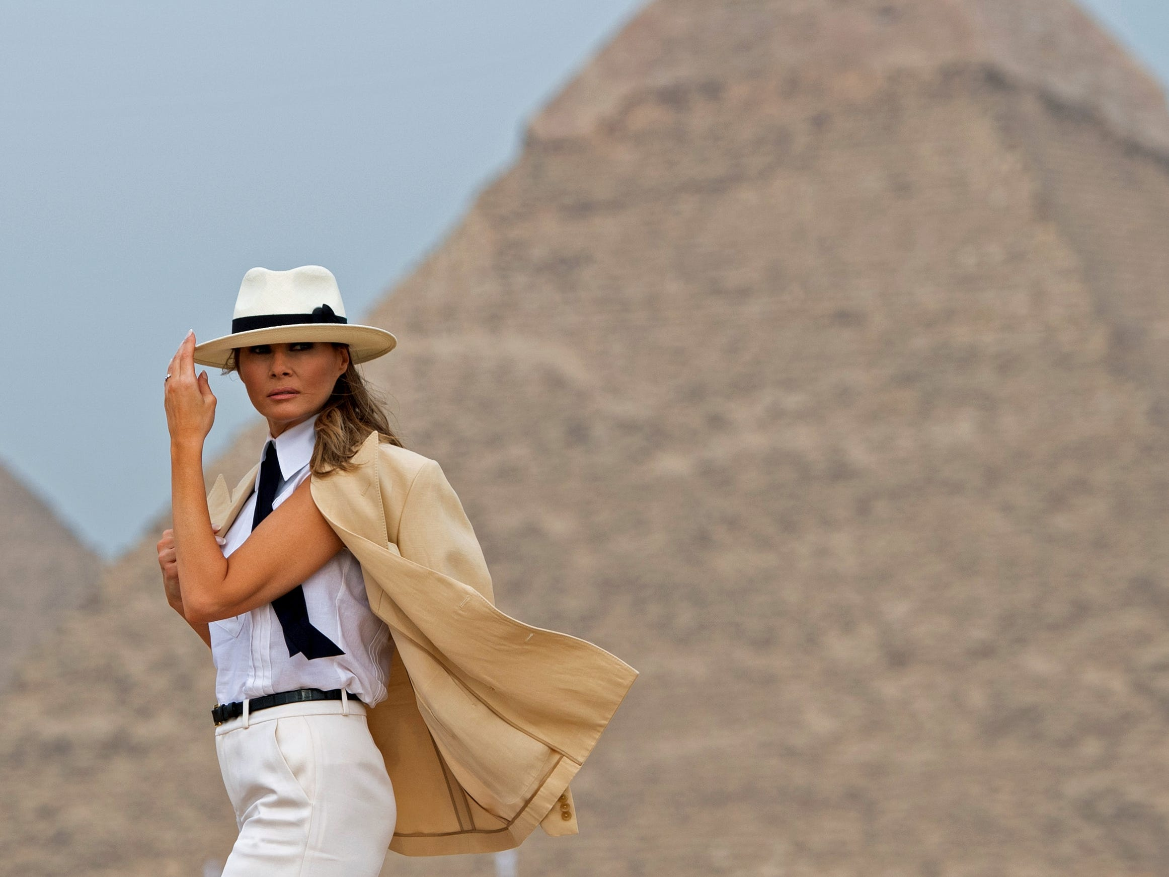 U.S. first lady Melania Trump visits the Giza Pyramids on October 6, 2018, during the final stop of her week-long trip through four countries in Africa.