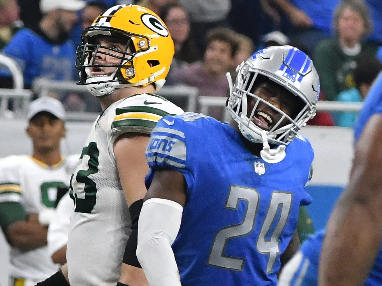 Lions' Nevin Lawson celebrates a defensive sack on Packers quarterback Aaron Rodgers late in the second quarter. NFL Detroit Lions vs. Green Bay Packers at Ford Field in Detroit, Michigan on Oct. 7, 2018.