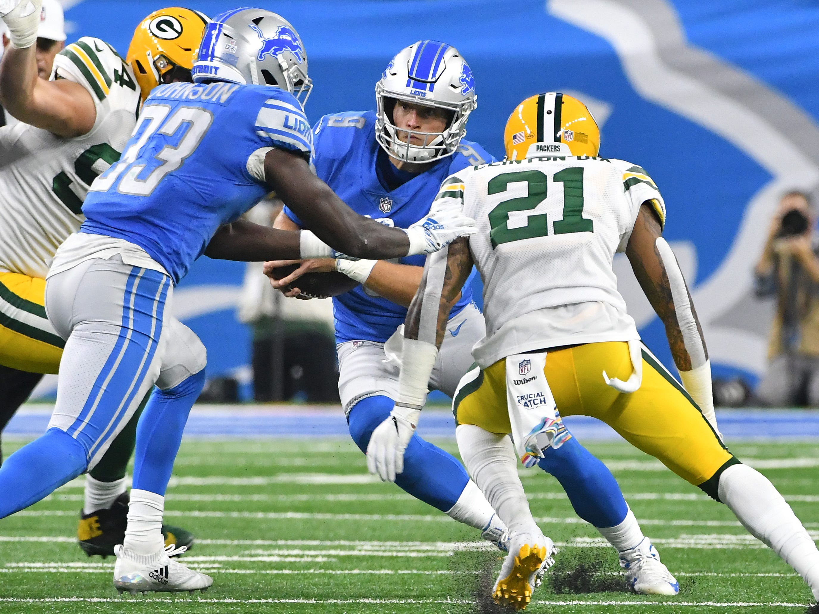 Lions quarterback Matthew Staffod can't evade the Packers defense, taking the sack by Green Bays' Ha Ha Clinton-Dix in the second quarter.