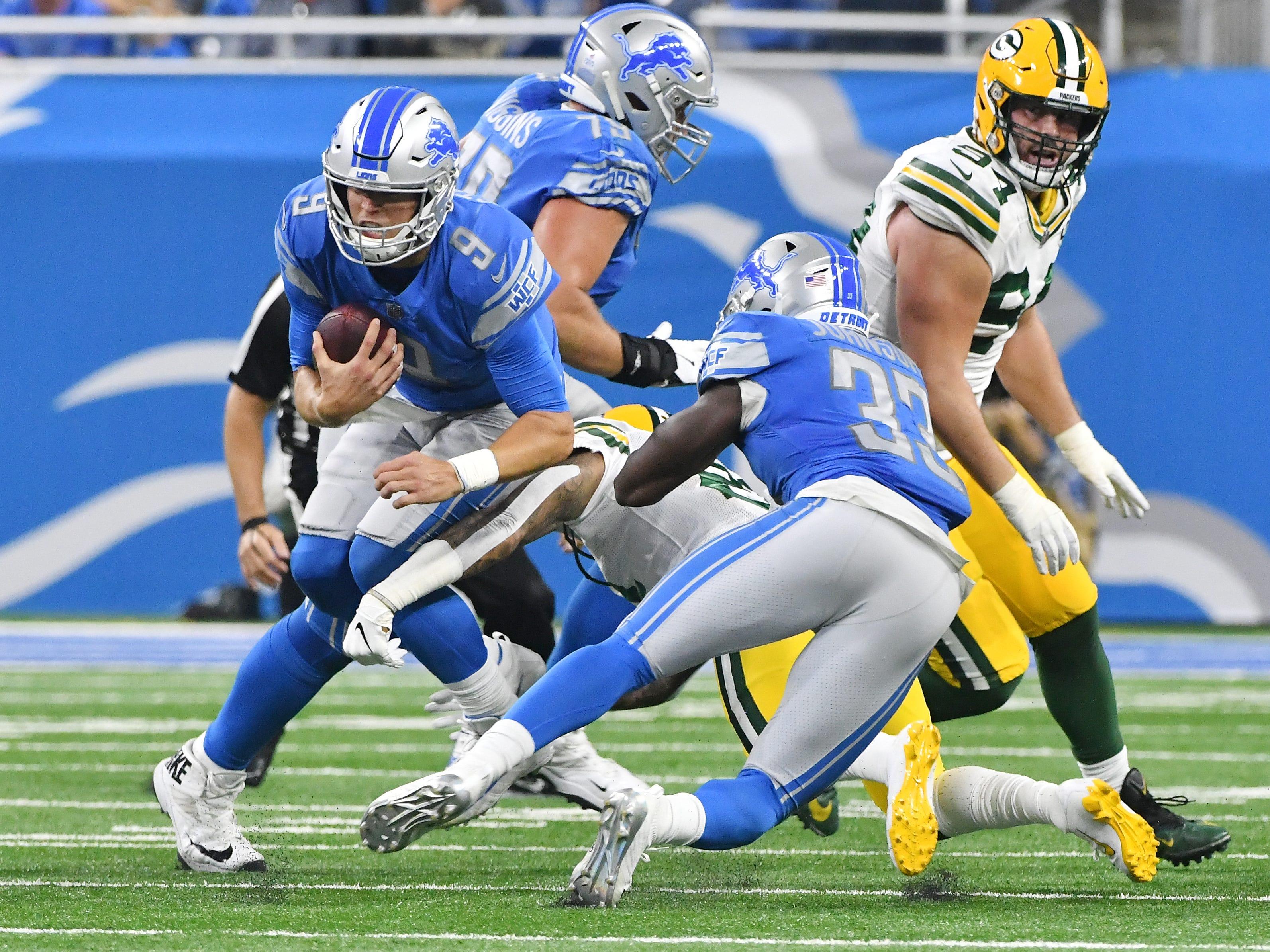 Lions quarterback Matthew Staffod gets sacked by Green Bays' Ha Ha Clinton-Dix in the second quarter.