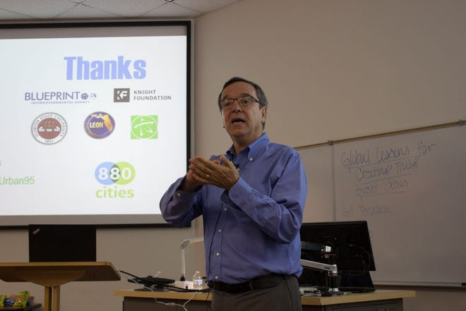 """Gil Penalosa gave a talk entitled, """"Global Lessons for Creating Truly Great Cities,"""" at FSU on Oct. 3, 2018."""