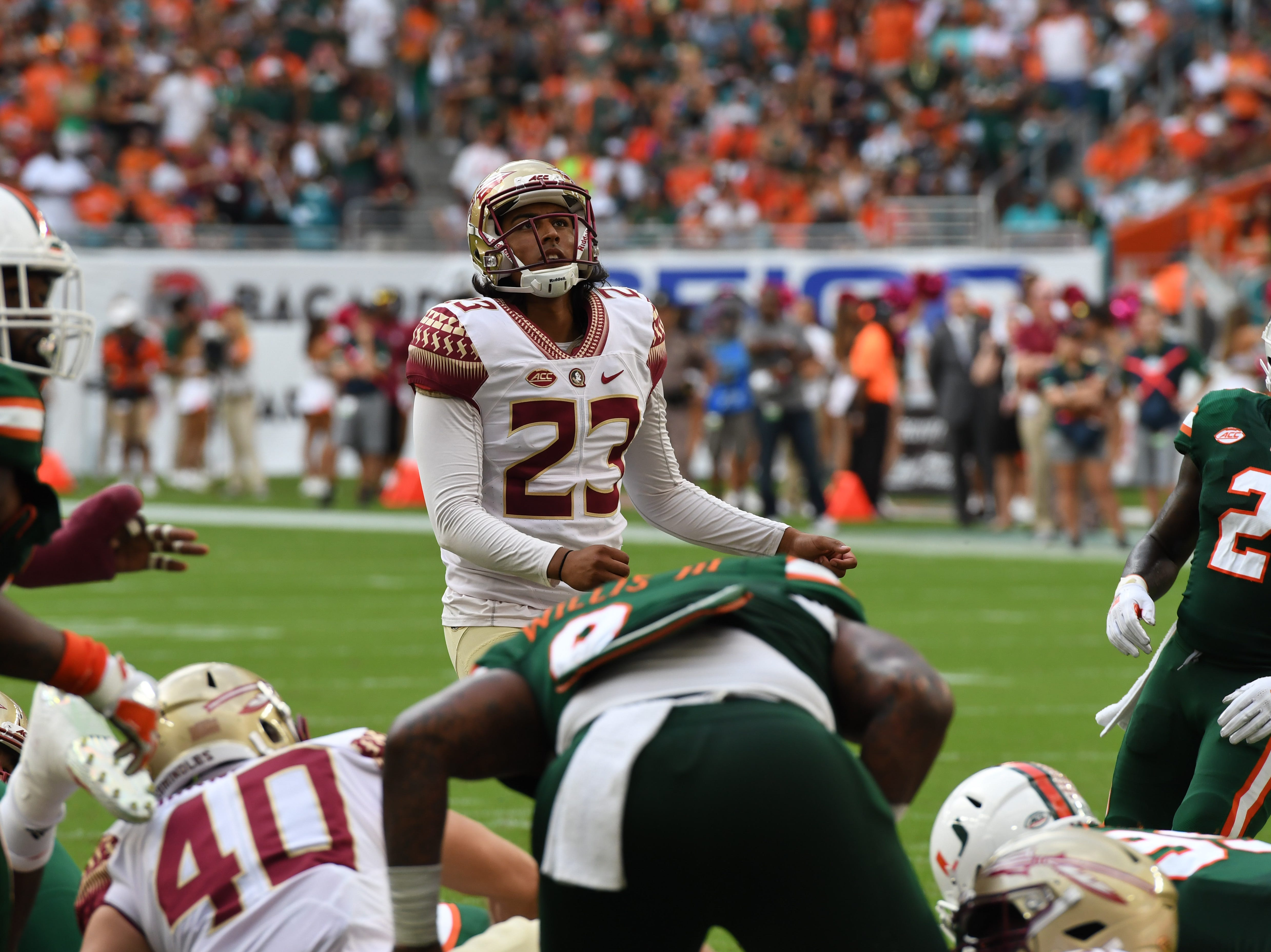 FSU junior kicker Ricky Aguayo (23) nailing a field goal in the second quarter of FSU's game against Miami at the Hard Rock Stadium on October 6th 2018.
