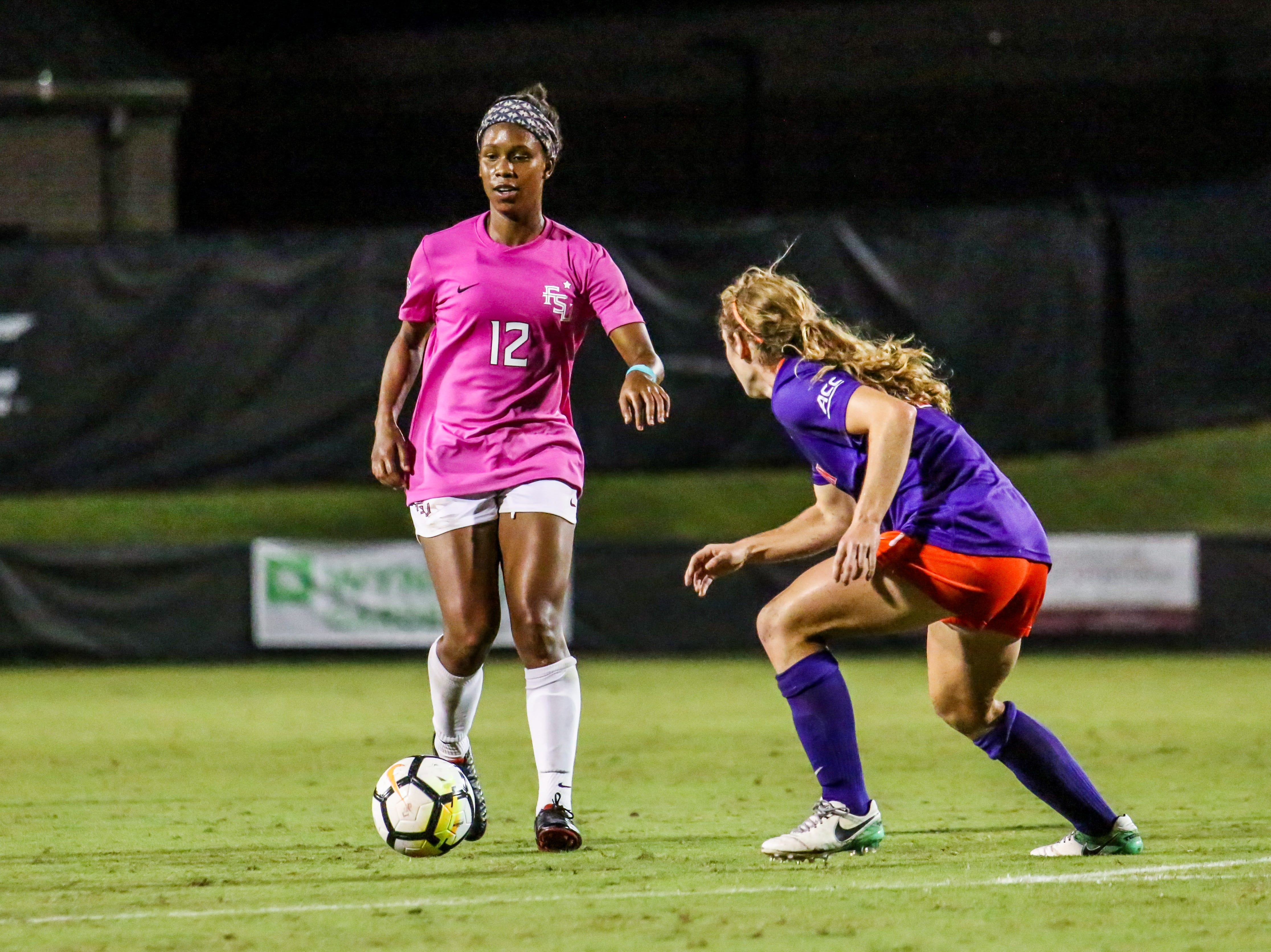 Kaycie Tillman (12) and the rest of Seminoles offense combined for 26 shots but couldn't get one to go in against Clemson on Thursday, October 4th at the Seminole Soccer Complex.