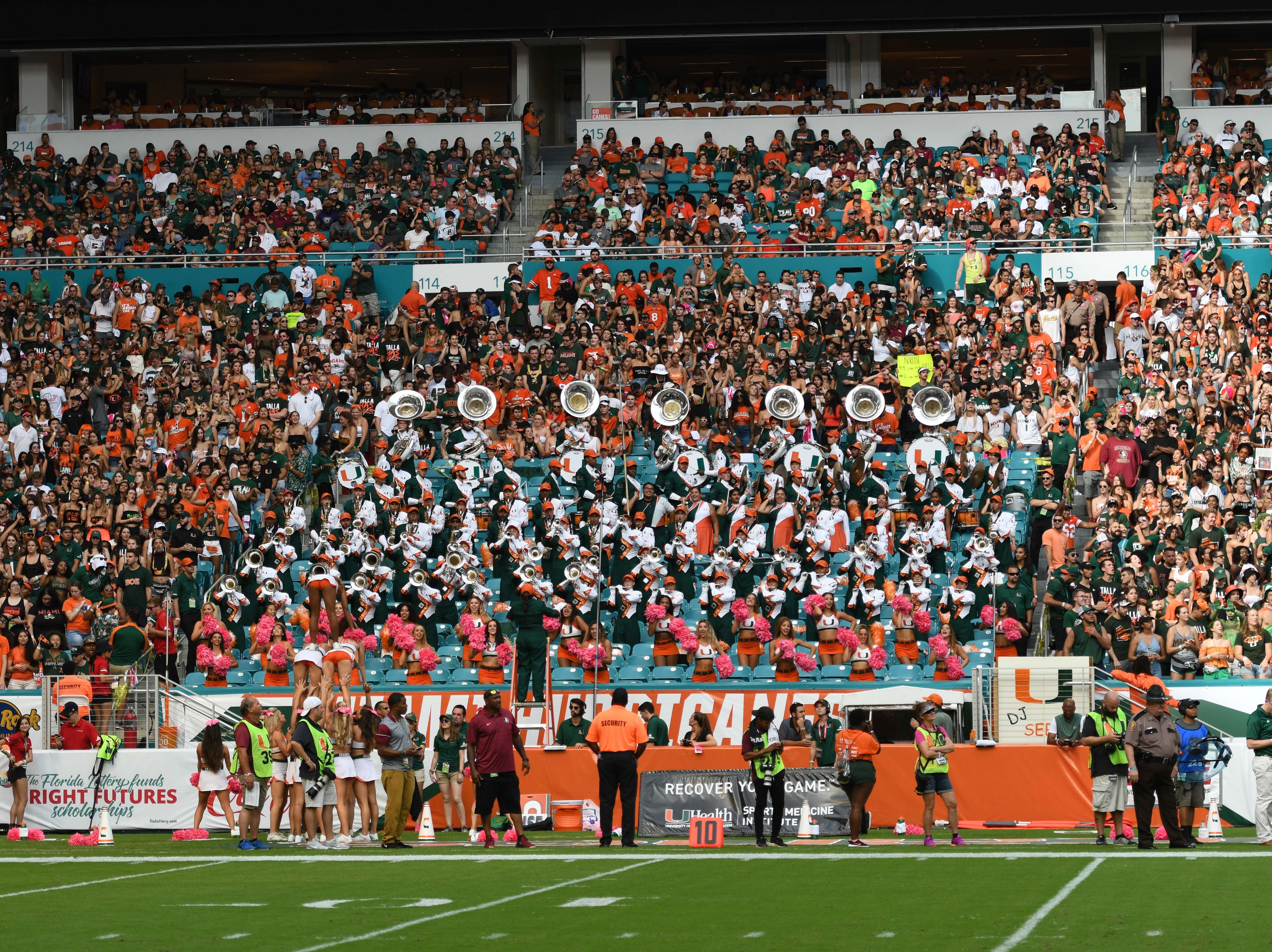 The Miami Hurricanes' fans were loud and pumped up during the rivalry FSU game against Miami at the Hard Rock Stadium on October 6th 2018.