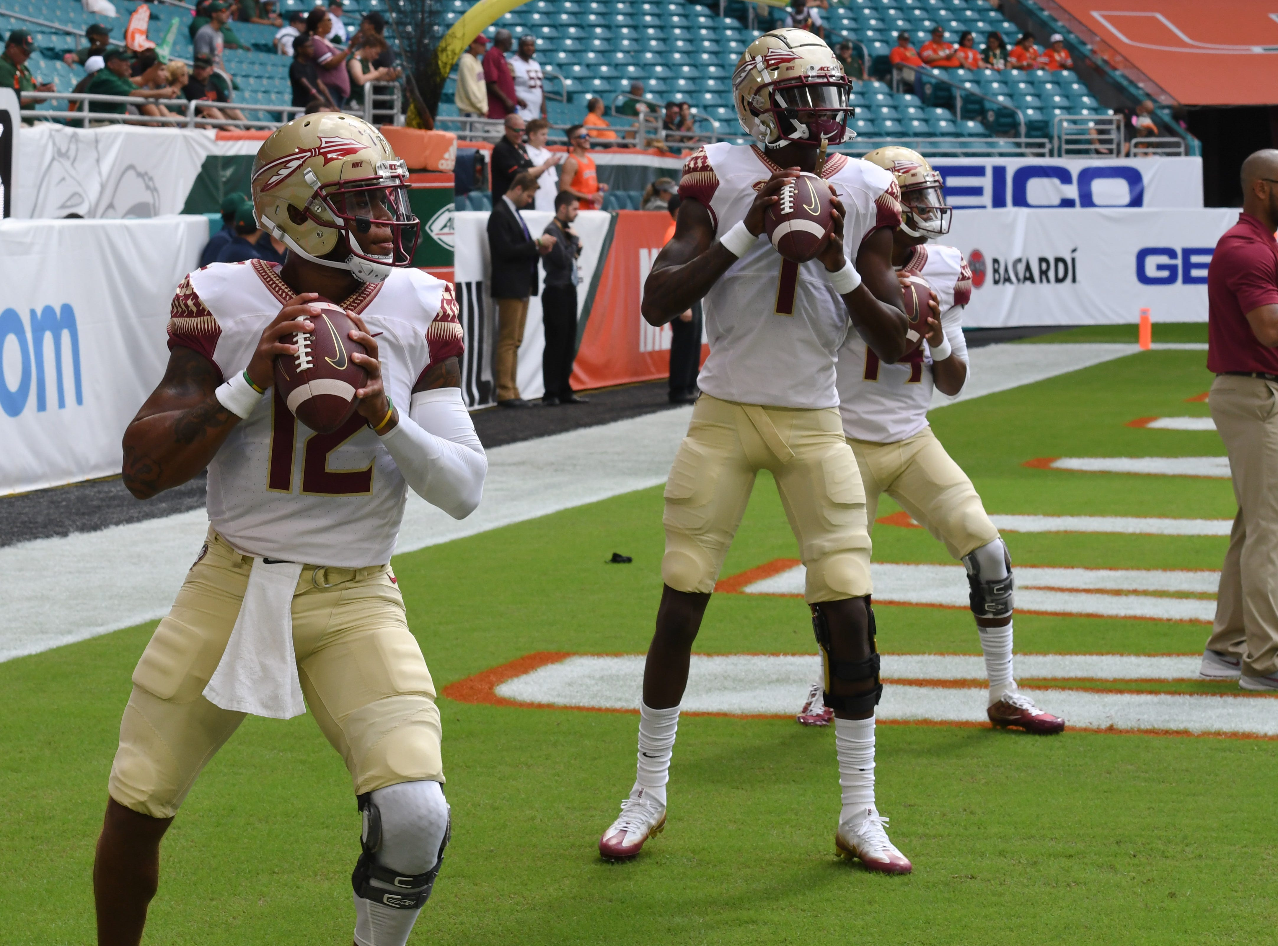 The FSU quarterbacks warming up before FSU's game against Miami at the Hard Rock Stadium on October 6th 2018.