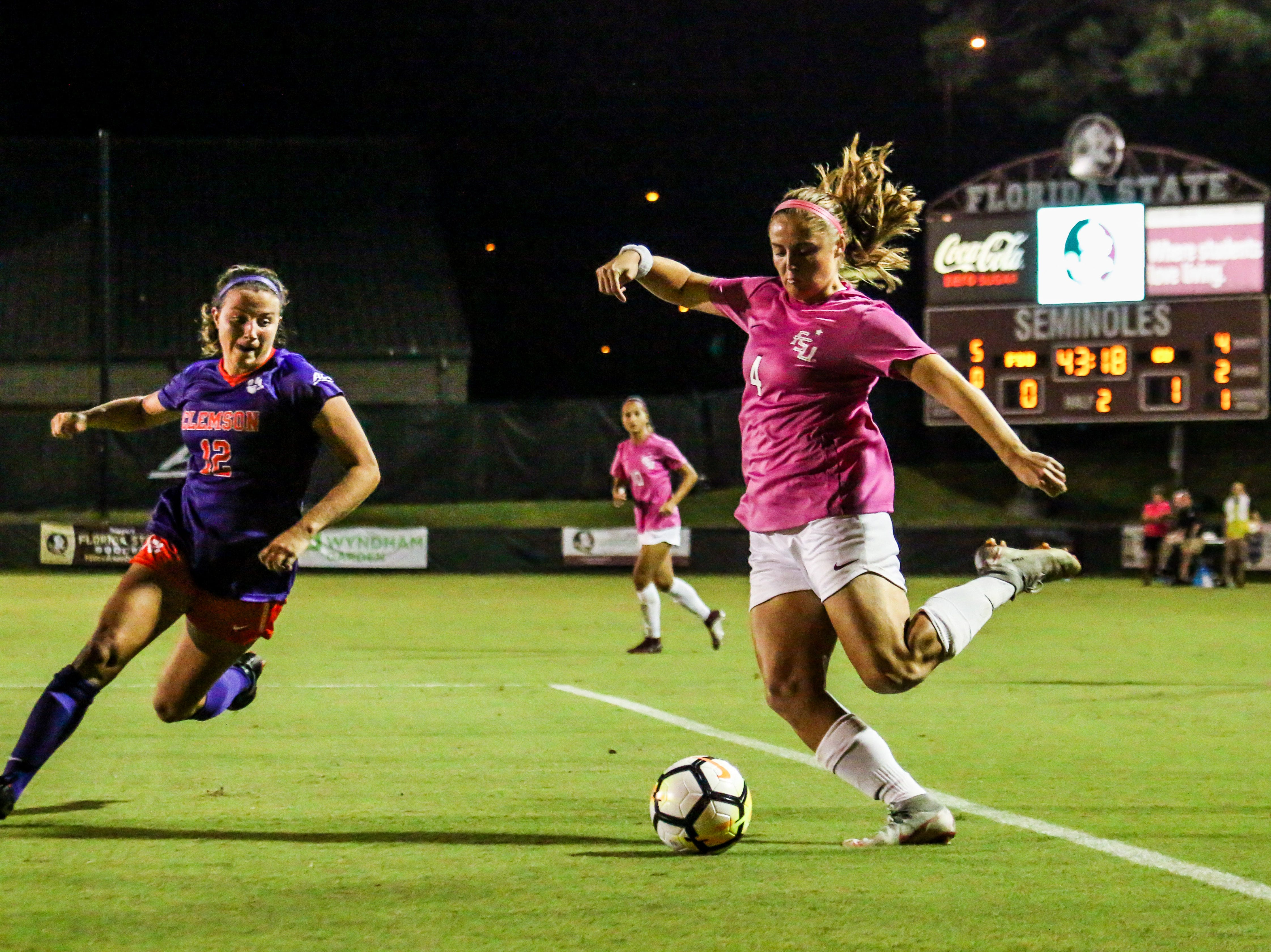 Kristina Lynch (4) and the rest of the Florida State Women's Soccer team had a very attack heavy game but were unable to breakthrough Clemson's defense on Thursday, October 4th at the Seminole Soccer Complex.