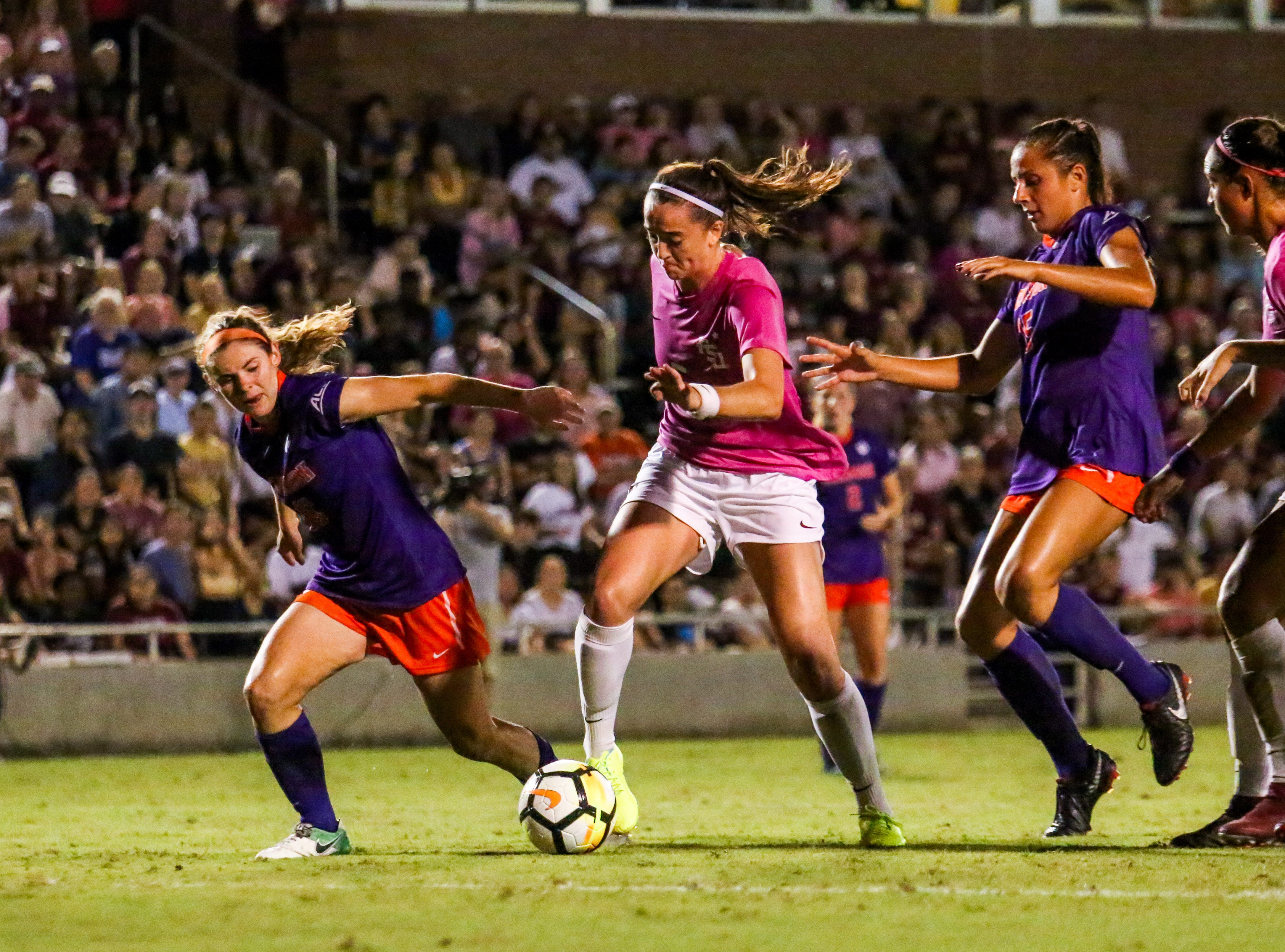 Sophomore Anna Patten (5) had a couple scoring opportunities in the second half but couldn't get it done against Clemson's defense on Thursday, October 4th at the Seminole Soccer Complex.