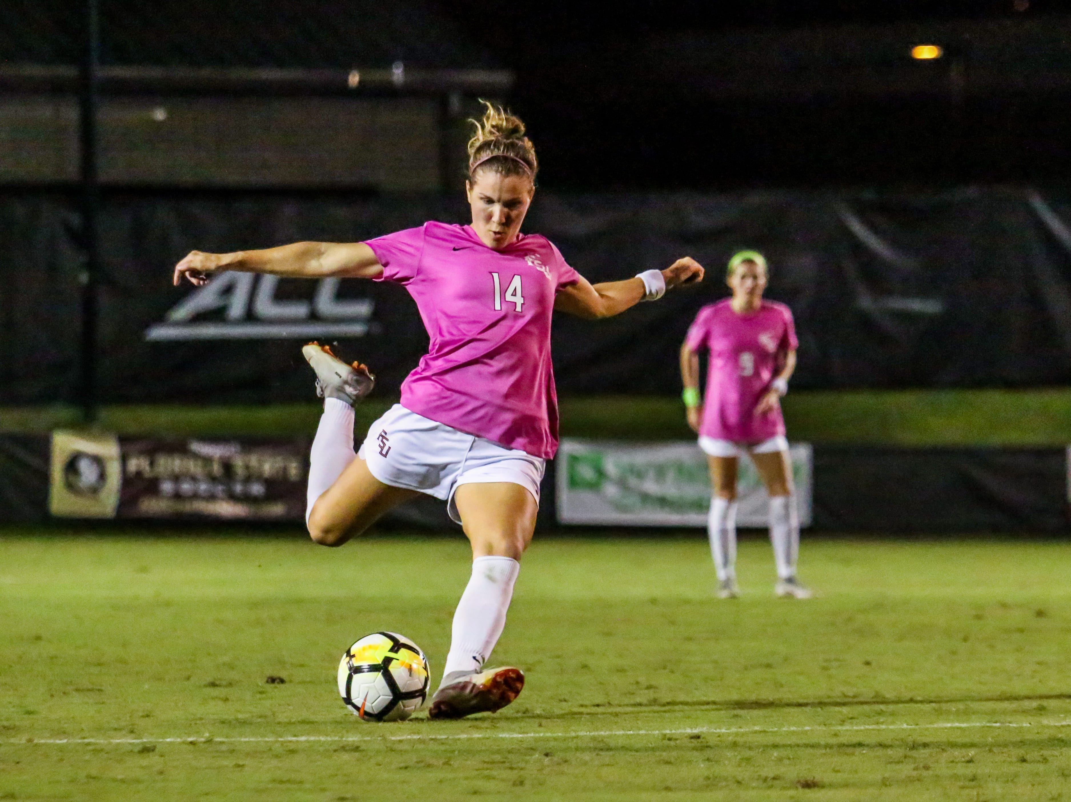 Natalia Kuikka (14) and the Florida State Women's Soccer team had a frustrating night on Thursday, October 4th, losing to Clemson 1-0 at the Seminole Soccer Complex.