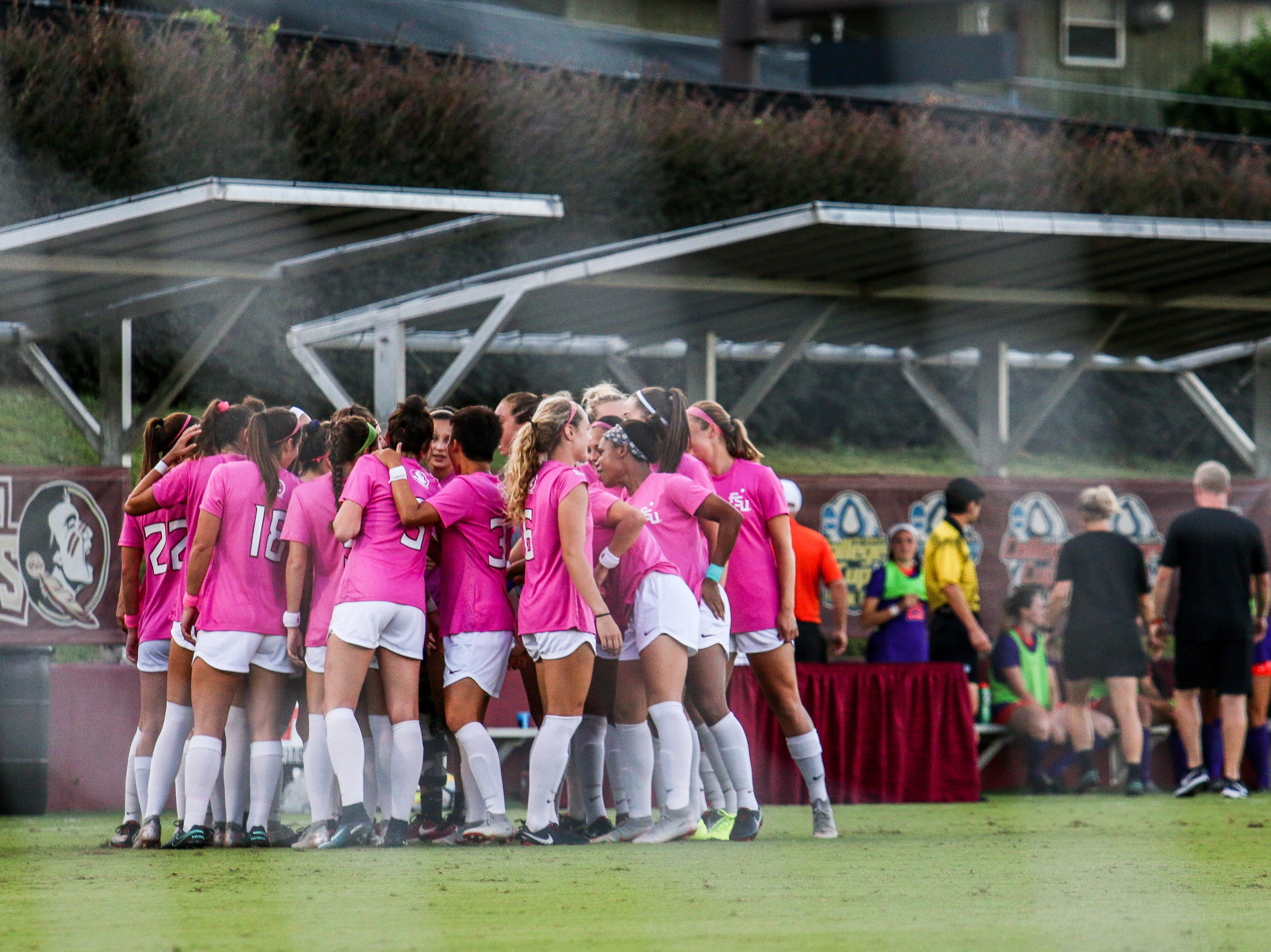 The FSU Women's Soccer team wore pink jerseys against Clemson on Thursday, October 4th in honor of Breast Cancer awareness month.