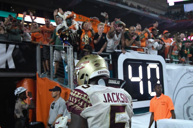 FSU junior linebacker Dontavious Jackson (5) walking off the field after losing to Miami 28-27 at the Hard Rock Stadium on October 6th 2018.