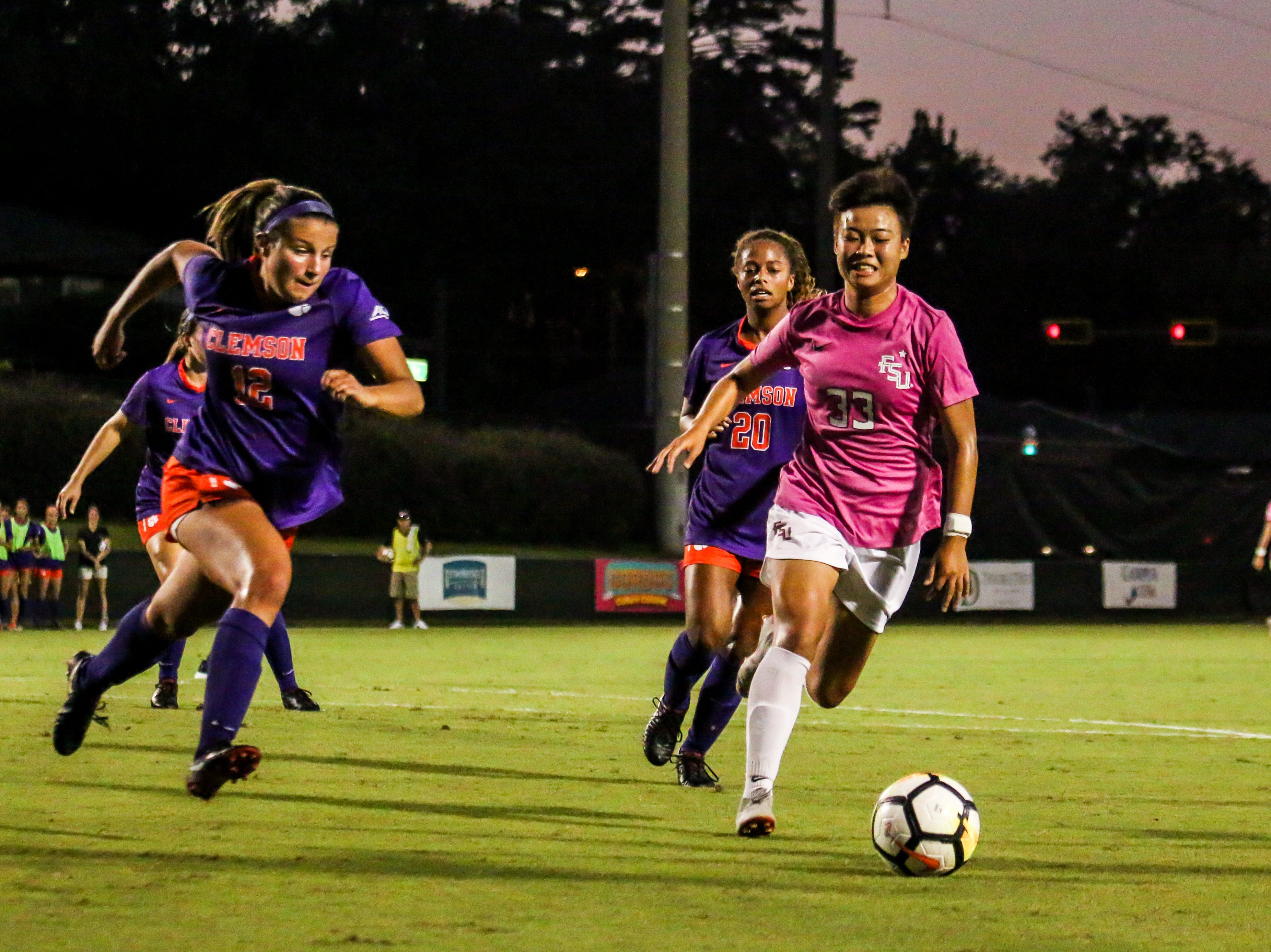 Yujie Zhao (33) had a dominant performance in the midfield, but was held without a goal to her name as Clemson's defense held strong on Thursday, October 4th at the Seminole Soccer Complex.