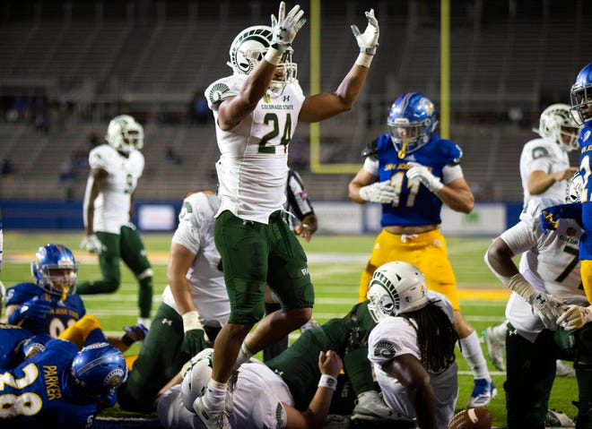 Oct 6, 2018; San Jose, CA, USA; Colorado State Rams running back Izzy Matthews (24) celebrates his touchdown plunge against the San Jose State Spartans during the fourth quarter of an NCAA football game at CEFCU Stadium. Mandatory Credit: D. Ross Cameron-USA TODAY Sports