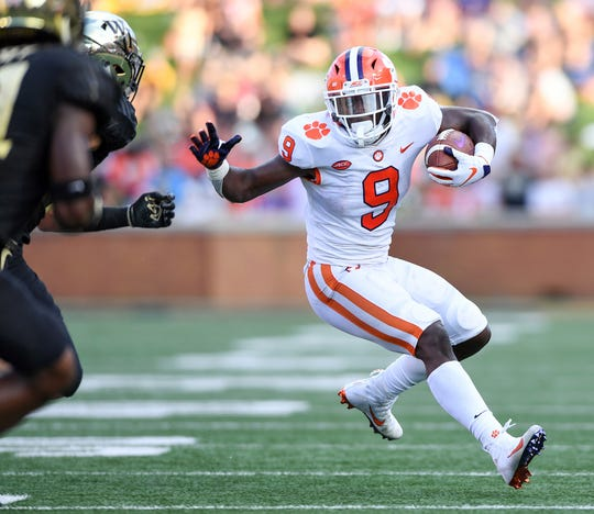 Clemson running back Travis Etienne (9) carries against Wake Forest during the 2nd quarter at BB&T Field in Winston Salem, N.C. Saturday, October 6, 2018.