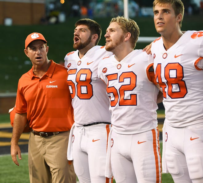 Clemson head coach Dabo Swinney after the Tigers 63-3 win over Wake Forest at BB&T Field in Winston Salem, N.C. Saturday, October 6, 2018.