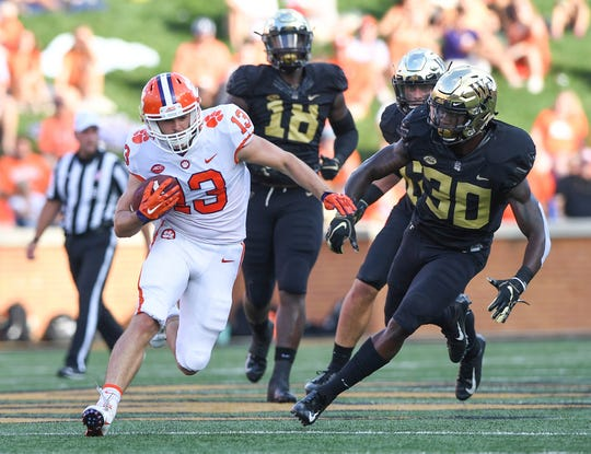 Clemson wide receiver Hunter Renfrow (13) makes a reception against Wake Forest during the 2nd quarter at BB&T Field in Winston Salem, N.C. Saturday, October 6, 2018.