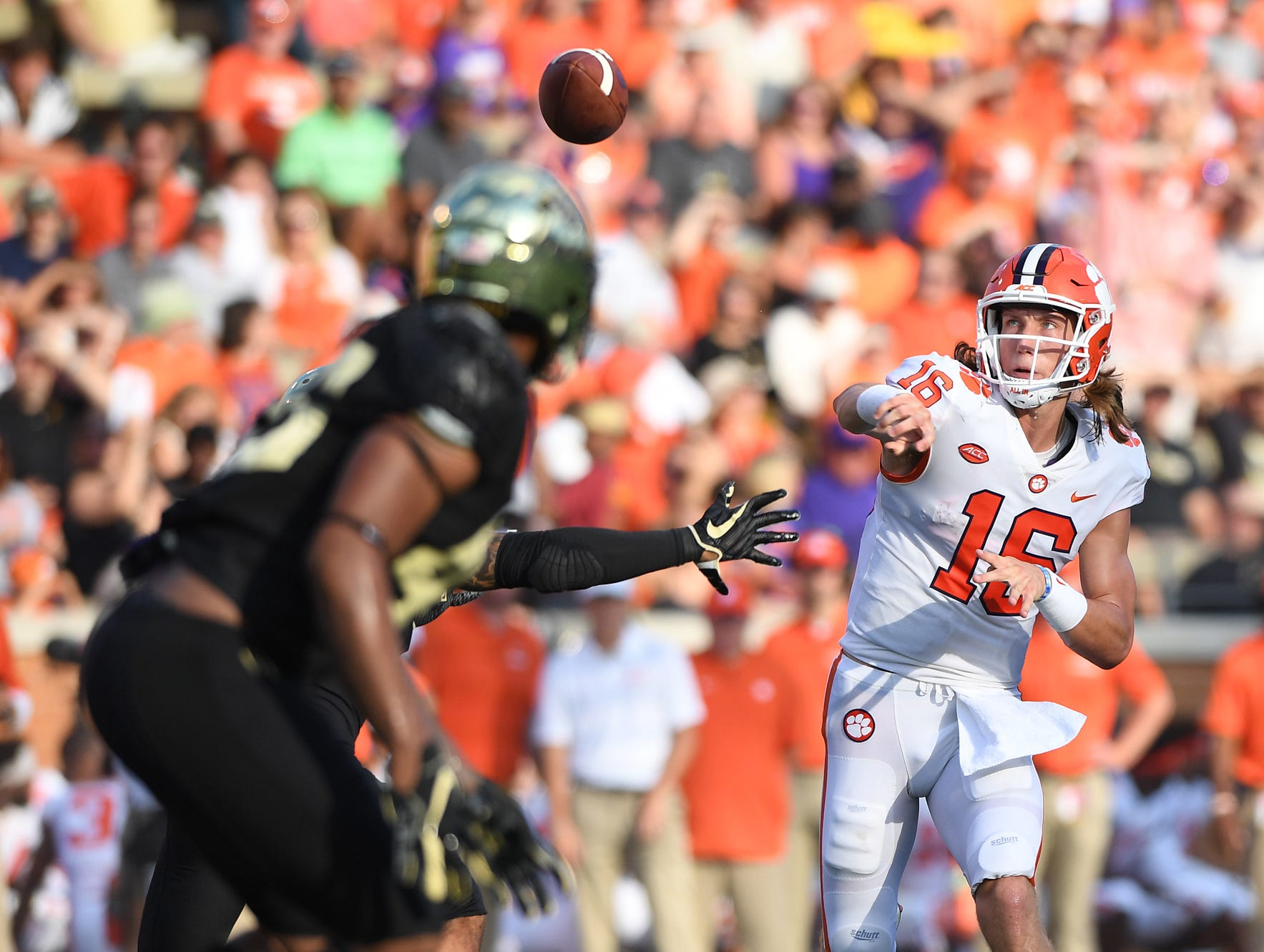 Clemson quarterback Trevor Lawrence (16) throws against Wake Forest during the 2nd quarter at BB&T Field in Winston Salem, N.C. Saturday, October 6, 2018.