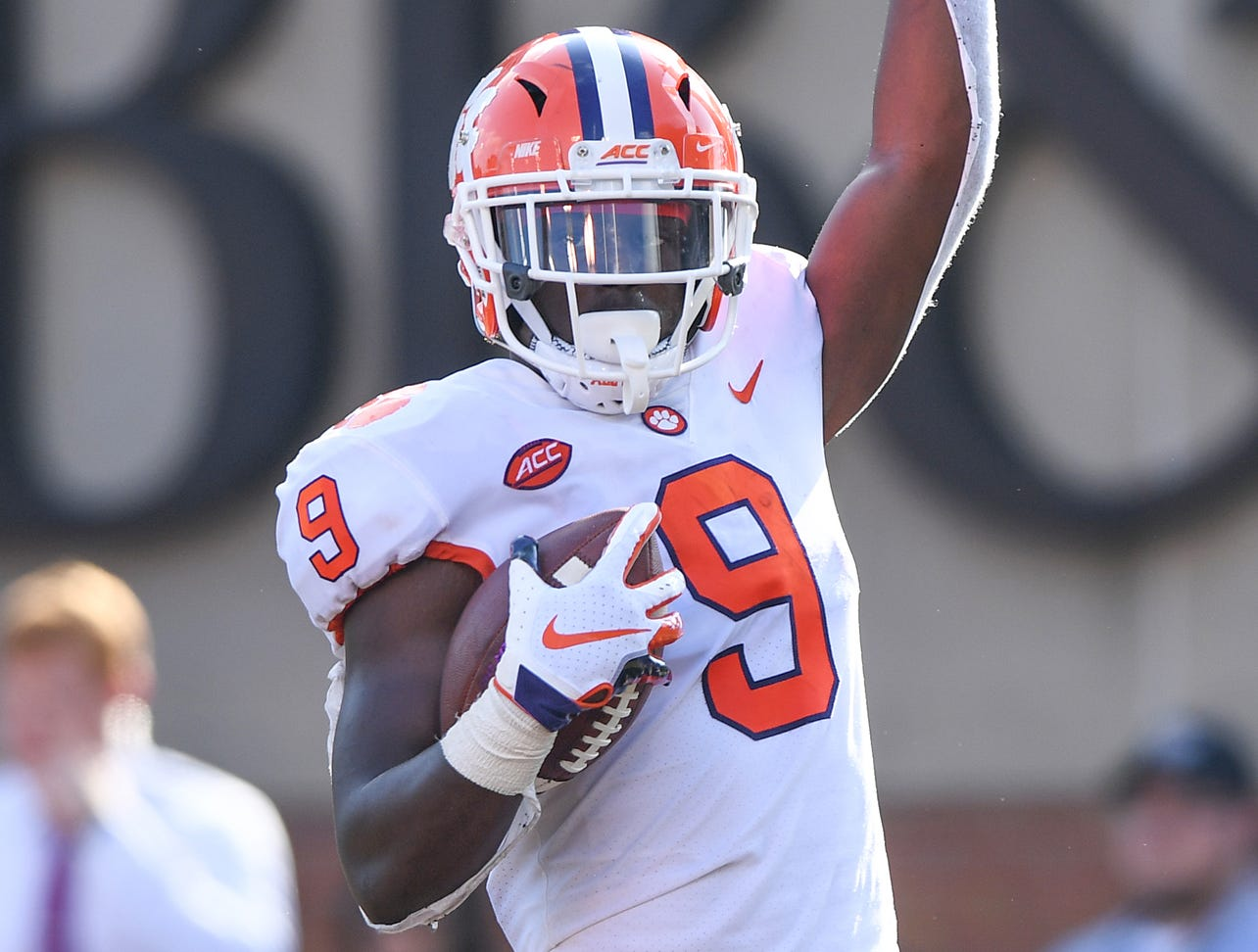 Clemson running back Travis Etienne (9) celebrates after scoring against Wake Forest during the 2nd quarter at BB&T Field in Winston Salem, N.C. Saturday, October 6, 2018.