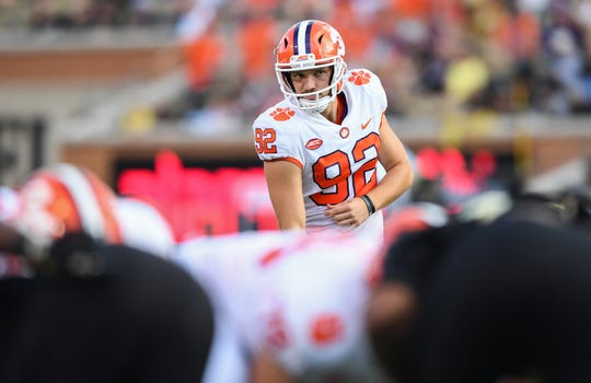 Clemson place kicker Greg Huegel (92) prepares to kick an extra point against Wake Forest during the 3rd quarter at BB&T Field in Winston Salem, N.C. Saturday, October 6, 2018.