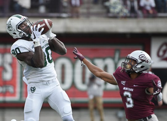 Portland State wide receiver Emmanuel Diagbe (80) catches a pass over the head of Montana cornerback Justin Calhoun (3) during the second half of an NCAA college football game Saturday, Oct. 6, 2018, in Missoula, Mont. (Colter Peterson/The Missoulian via AP)