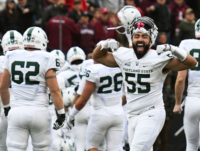 Portland State defensive tackle Boogie Davis (55) celebrates after a field goal in the final seconds against Montana during an NCAA college football game Saturday, Oct. 6, 2018, in Missoula, Mont. (Colter Peterson/The Missoulian via AP)