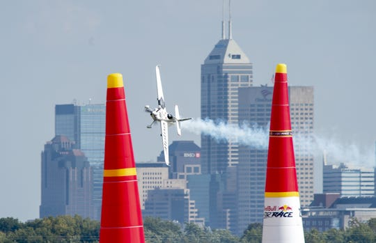 Team Goulian pilot Michael Goulian of the United States races through the pylons en route to his victory on the day. Fourteen pilots competed Sunday, Oct. 7, 2018 at the Indianapolis Motor Speedway in the Red Bull Air Race World Championship.