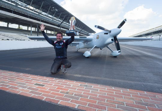 Team Goulian pilot Michael Goulian of the United States celebrates winning the Master Class at the yard of bricks. Fourteen pilots competed Sunday, Oct. 7, 2018 at the Indianapolis Motor Speedway in the Red Bull Air Race World Championship.
