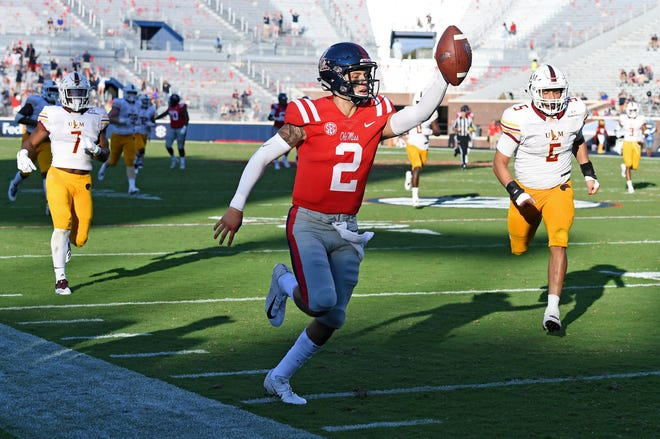 Ole Miss quarterback Matt Corral (2) runs the carries the ball for a 61-yard touchdown run during the second half of an NCAA college football game against Louisiana Monroe in Oxford, Miss., Saturday, Oct. 6, 2018. Mississippi won 70-21. (AP Photo/Thomas Graning)