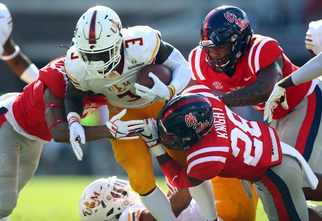Ole Miss defensive back Tylan Knight (28) assists on a tackle in Ole Miss' 70-21 win over Louisiana-Monroe on Oct. 6, 2018.