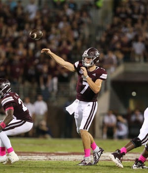 Mississippi State's Nick Fitzgerald (7) releases a pass in the second quarter. Mississippi State and Auburn played in an SEC college football game on Saturday, October 6, 2018, in Starkville.